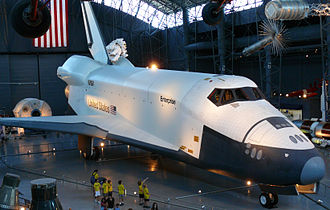 Space Shuttle Enterprise - Enterprise on display with IRBMs, ICBMs, and ABM equipment at the Steven F. Udvar-Hazy Center.