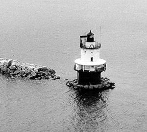 South Portland, Maine - Spring Point Ledge Light breakwater under construction (1951)