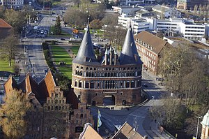 City gate - The Holstentor a medieval city gate of the Hanseatic city of Lübeck. Today a World Heritage Site.