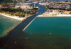 Aerial view of the harbor at St. Joseph, Michigan. The St. Joseph River flows into Lake Michigan through the city.