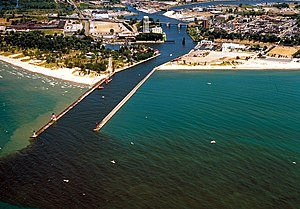 St. Joseph, Michigan - Aerial view of the harbor at St. Joseph, Michigan. The St. Joseph River flows into Lake Michigan through the city.