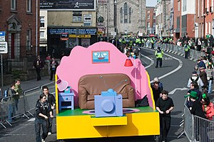 In the Name of the Grandfather - The Simpsons-themed parade float (shown before the start of the parade) that was featured in the 2009 St. Patrick's Day parade in Dublin.