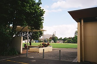 Grafton, New Zealand - St Peter's College cricket field (St Peter's Oval), Auckland Hospital and Outhwaite Park