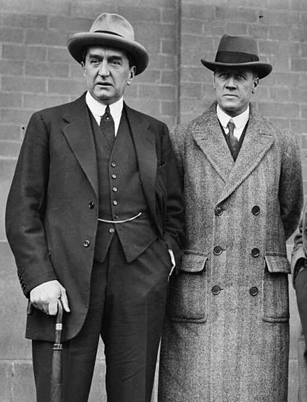Bruce with John Latham, his Attorney-General and eventual successor as leader of the Nationalist Party Stanley Bruce and John Latham.jpg