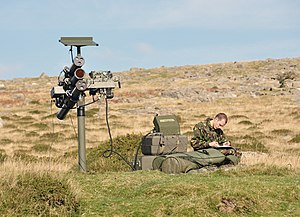 Starstreak - A Starstreak emplacement used in training on Dartmoor, England. One of the 3 missiles has already been fired