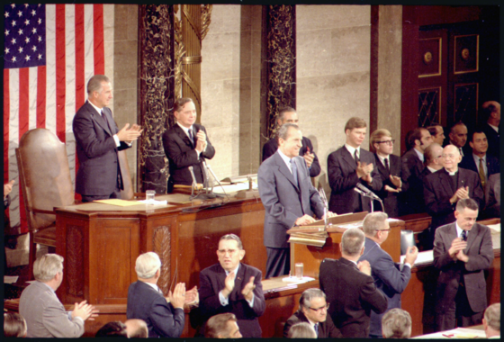 President Nixon delivers the 1971 State of the Union Address at the U.S. Capitol