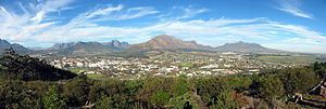 Stellenbosch - A panorama of Stellenbosch, as seen from Papegaaiberg.