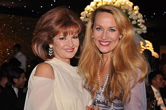 Jerry Hall - Hall with Stephanie Beacham in London
