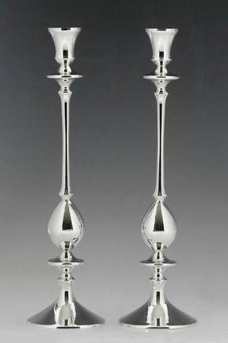 Jewish ceremonial art - Silver Shabbat candlesticks