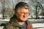Steve Tesich outside on a snowy day in 1990.