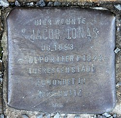 Photo of Jacob Jonas brass plaque