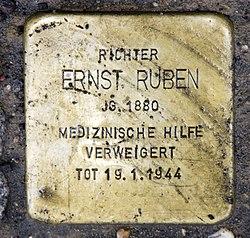 Photo of Ernst Ruben brass plaque