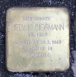 Photo of Hedwig Siegmann brass plaque
