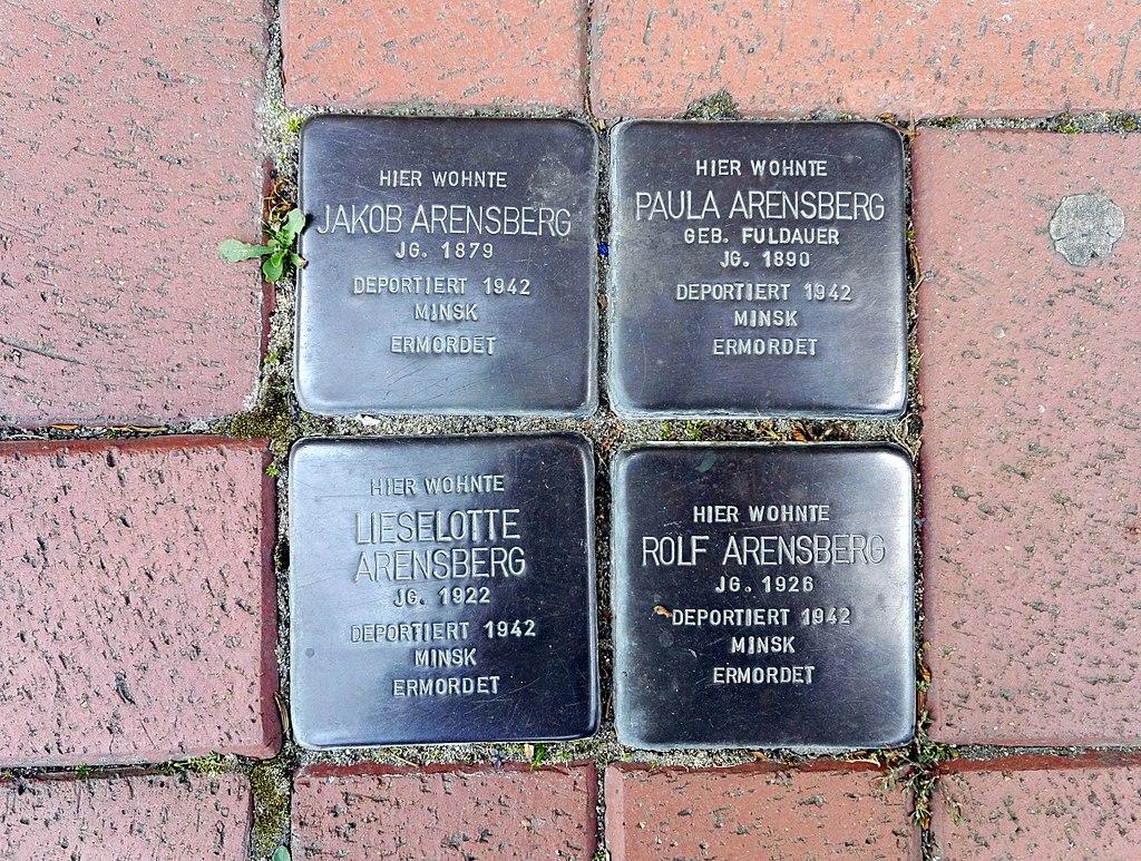 Stolpersteins Jakob Arensberg, Paula Arensberg, Lieselotte Arensberg, Rolf Arensberg, Neustraße 20, Meckenheim.jpg