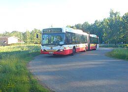 Sporvognsbus (Scania OmniCity) på Linie 11 i Jönköping.   Linie 11 bliver senere ved Dalvik stomlinie 2 mod Öxnehaga.