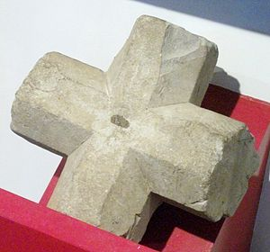 Elstow Abbey - Stone from crossing of the cloister vaulting, on display at Bedford Museum