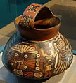 Strap-handled vessel depicting a supernatural scene, Nazca, South Coast Peru, 200 BC - 600 AD, terracotta with colored slip, view 2 - Hood Museum of Art - DSC09297.JPG