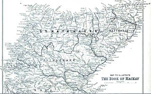Clan Mackay - Map showing the territory of the Clan Mackay that was known as Strathnaver in relation to Sutherland and Caithness. The boundary is marked with a dashed line. (click to enlarge)