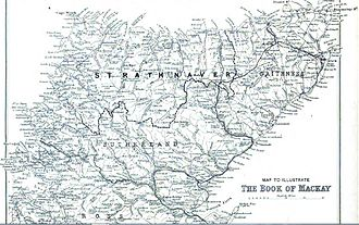 Strathnaver - Map showing the territory of the Clan Mackay that was known as Strathnaver in relation to Sutherland and Caithness. The boundary is marked with a dashed line. (click to enlarge)