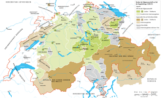 Reformation in Switzerland - Map of the thirteen cantons of the Swiss confederacy in 1530 (green) with their separate subject territories (light green), condominiums (grey) and associates (brown)