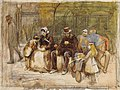 Study for a seat in the park by Pinwell-pencil, watercolour, and bodycolour on paper-19.3x23cm.jpg