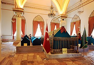 "Nilüfer Hatun - The tomb of ""Nilüfer Hātūn"" is located inside the türbe (Mausoleum), of Orhan Ghazi in Bursa"
