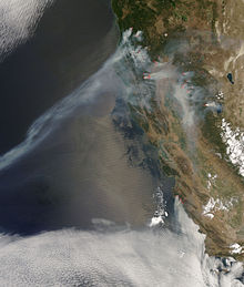 Summer 2008 California wildfires on July 9.jpg