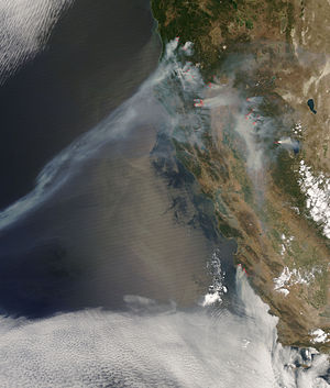 2008 California wildfires - Some of the wildfires as seen from space during the height of the summer outbreak on July 9, 2008.