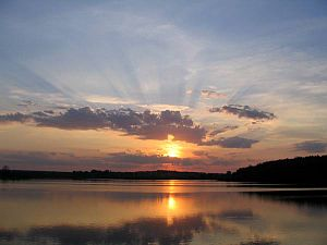 English: Sunset over a body of water in Russia...