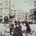 Susan Watkins feeding pigeons in San Marco (ca. 1891-1904).jpg
