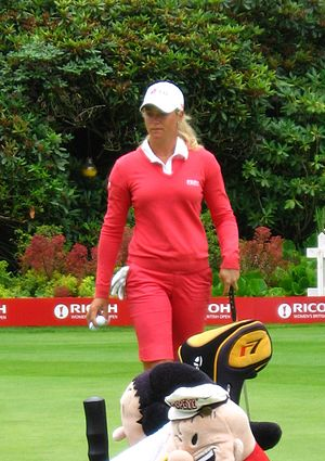 Suzann Pettersen on the practice green before ...