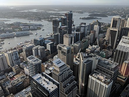 Sydney's northern CBD serves as the financial and banking hub of the city SydneyCBDfromTower.jpg