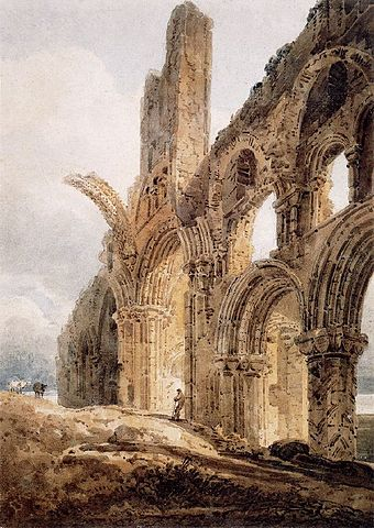 The Ruins of Lindisfarne Priory, by Thomas Girtin, 1798. The priory's rainbow arch, which survives, is shown truncated for artistic effect. T.homas Girtin Lindisfarne 1798.jpg