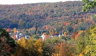 Thomaston, Connecticut - October 2003 autumn view of Thomaston from Plymouth