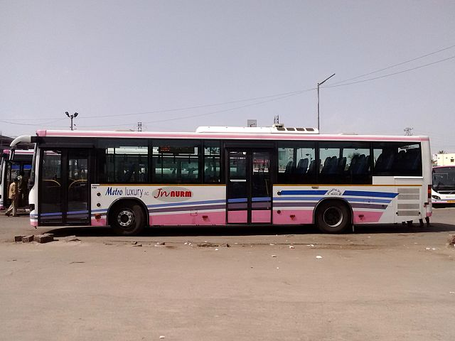 A TSRTC Metro Luxury Volvo at Lingampally.