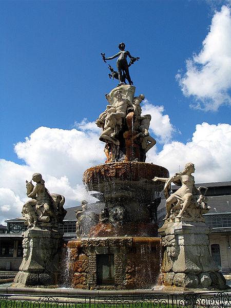 Fontaine Duvignau (ou Fontaine des Quatre Vallées). Place Marcadieu in Tarbes. France