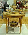 Tea service and table, Peter Carl Faberge, Russia, Saint Petersburg, c. 1900, lemonwood, karelian birch, silver, gilt, ivory - California Palace of the Legion of Honor - San Francisco, CA - DSC02908.jpg