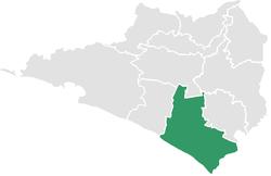 Vị trí của đô thị trong bang Colima