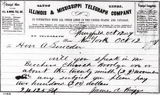Plymouth Church (Brooklyn) - 1859 Telegram inviting Lincoln to speak at Plymouth Church