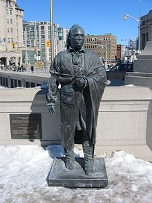 Statue of Joseph Brant at the Valiants Memorial in Ottawa
