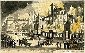 Coloured aquatint of the Burning of Parliament. Firemen are pictured in front of the building, while soldiers are seen towards the left of the image, keeping back crowds.