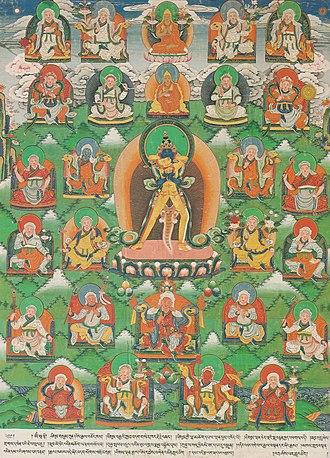 Kings of Shambhala - Central figure is a yidam, a meditation deity. The 25 seated figures represent the 25 kings of Shambhala. The middle figure in the top row represents Tsongkhapa