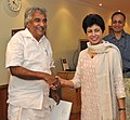 The Chief Minister of Kerala, Shri Oommen Chandy calling on the Union Minister for Housing and Urban Poverty Alleviation and Culture, Kum. Selja, in New Delhi on September 23, 2011.jpg