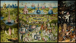 "World - The Garden of Earthly Delights triptych by Hieronymus Bosch (c. 1503) shows the ""garden"" of mundane pleasures flanked by Paradise and Hell. The exterior panel shows the world before the appearance of humanity, depicted as a disc enclosed in a sphere."