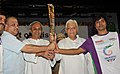 The Governor of Orissa, Shri M.C. Bhandare and the Chief Minister of Orissa, Shri Naveen Patnaik holding the Queen`s Baton 2010 Delhi, at Bhubaneswar, in Orissa on August 10, 2010.jpg