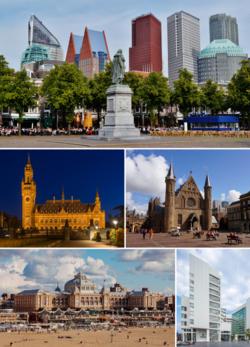 Van boven naar beneden, van links naar rechts: Het Plein, Vredespaleis, Binnenhof, Kurhaus, Stadhuis
