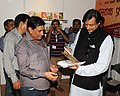 The Minister of State for Human Resource Development, Dr. Shashi Tharoor visiting the exhibition on literacy and livelihood – 'KRITI', organised by National Literacy Mission Authority, in New Delhi on September 07, 2013.jpg