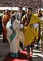 The President, Smt. Pratibha Devisingh Patil being escorted by the 5th King of Bhutan, HM Jigme Khesar Namgyel Wangchuck at Chaglimithan Stadium, in Bhutan on November 07, 2008.jpg