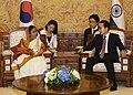 The President, Smt. Pratibha Devisingh Patil meeting the President of Korea, Mr. Lee Myung-bak, in Seoul, Korea on July 25, 2011.jpg