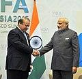 The Prime Minister, Shri Narendra Modi meeting the Prime Minister of Pakistan, Mr. Nawaz Sharif, on the sidelines of the SCO Summit, in Ufa, Russia on July 10, 2015 (1).jpg